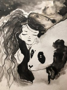 b&w girl & panda